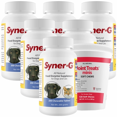 6-PACK Syner-G® Digestive Enzymes (1,200 Tablets) + FREE Joint Treats® Minis