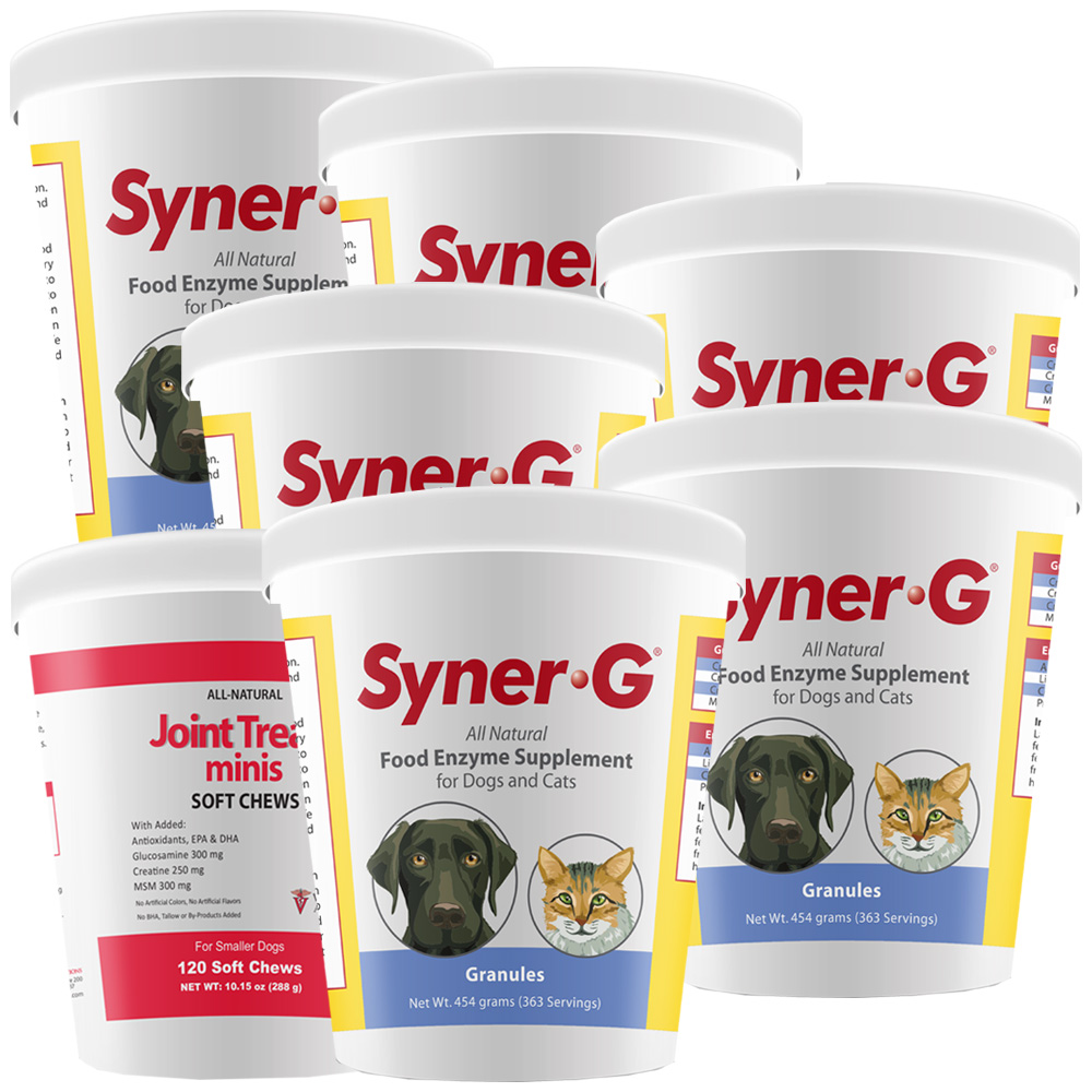 6-PACK Syner-G® Digestive Enzymes Granules (2724 g) + FREE Joint Treats® Minis