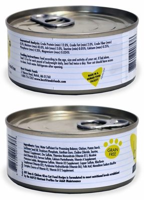 6-PACK Weruva Best Feline Friend Canned Cat Food, Tuna and Chicken 4Eva Recipe (33 oz)