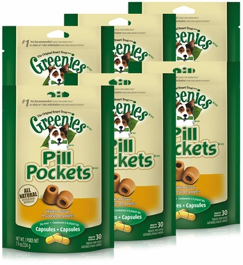 6PK Pill Pockets LARGE Dog 47.4 oz (180 Chicken pockets)