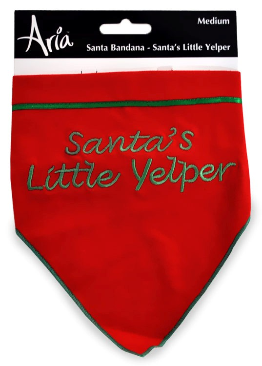 Aria Santa Bandana - Santa's Little Yelper Bandana Medium - Red