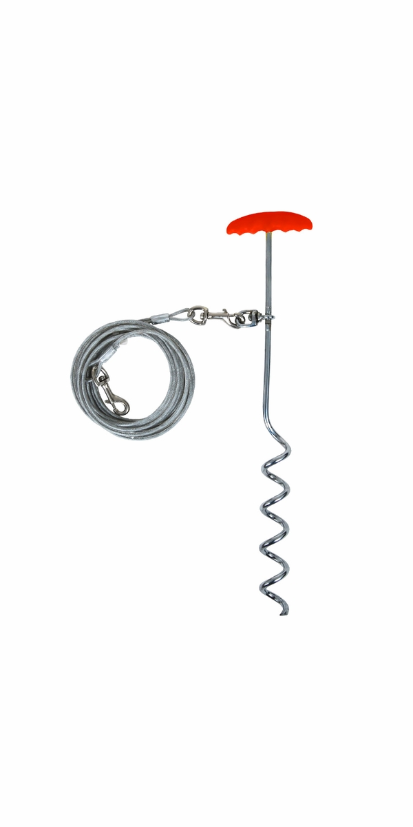 "Aspen Pet Stake Medium 16"" Easyturn Red"