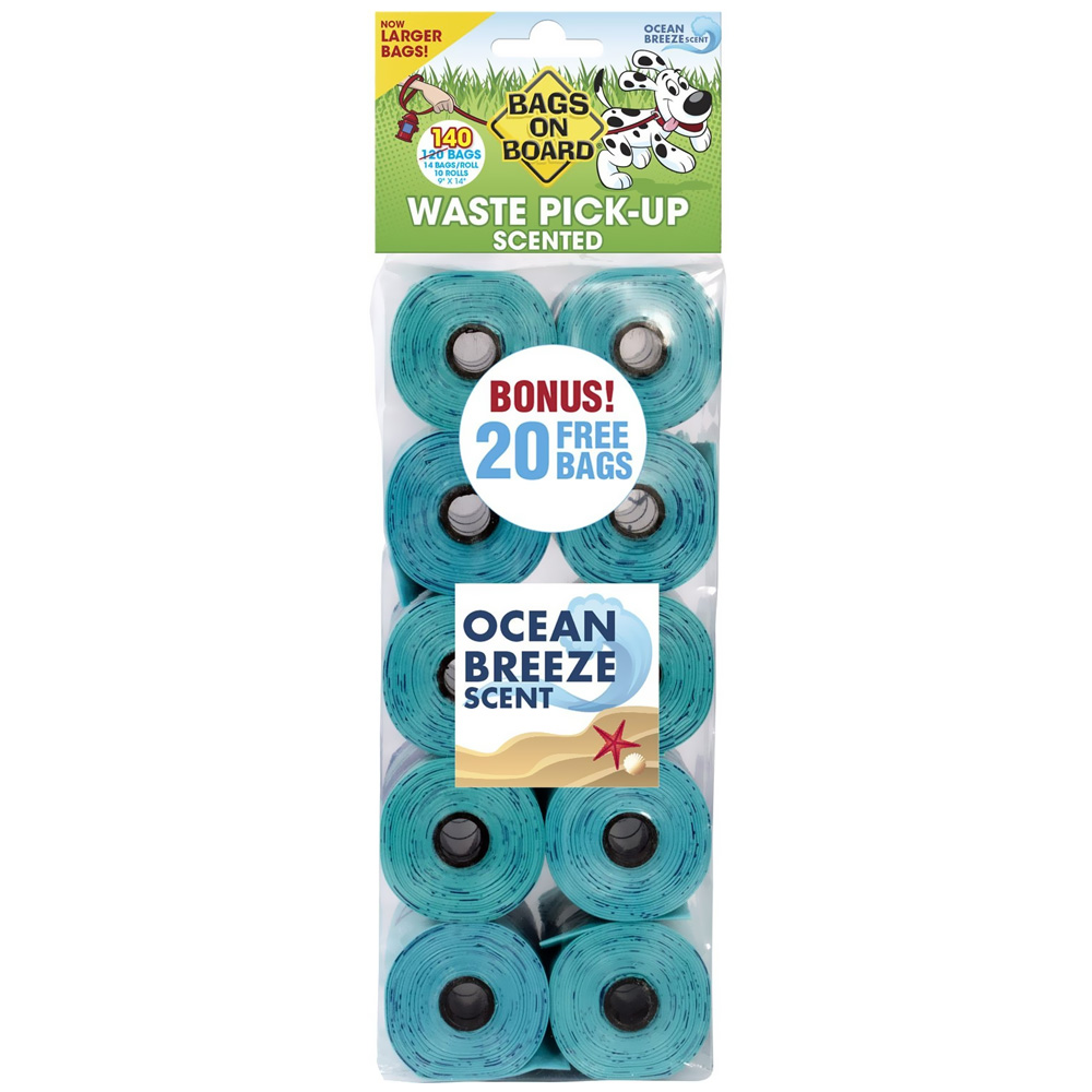 Bags on Board Waste Pick-Up - Ocean Breeze Scented Refill Bags (140 bags)