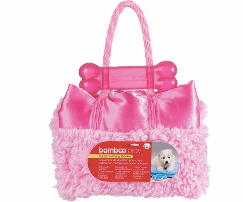 """Bamboo Puppy Teething Blankie - PINK 14"""" x 17"""""""