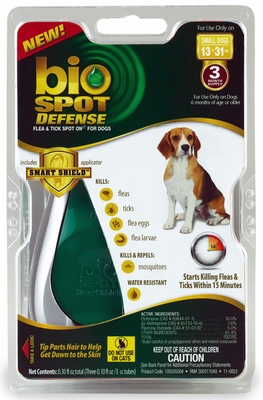 Bio Spot Defense with Smart Shield Applicator for Dogs (3 month) - Small 13-31 lbs