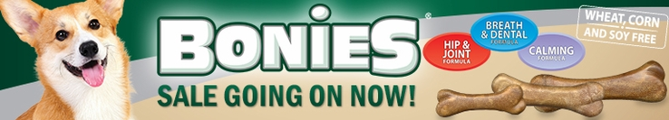 Bonies Sale! Get huge savings on Bonies dental, joint and calming treats!