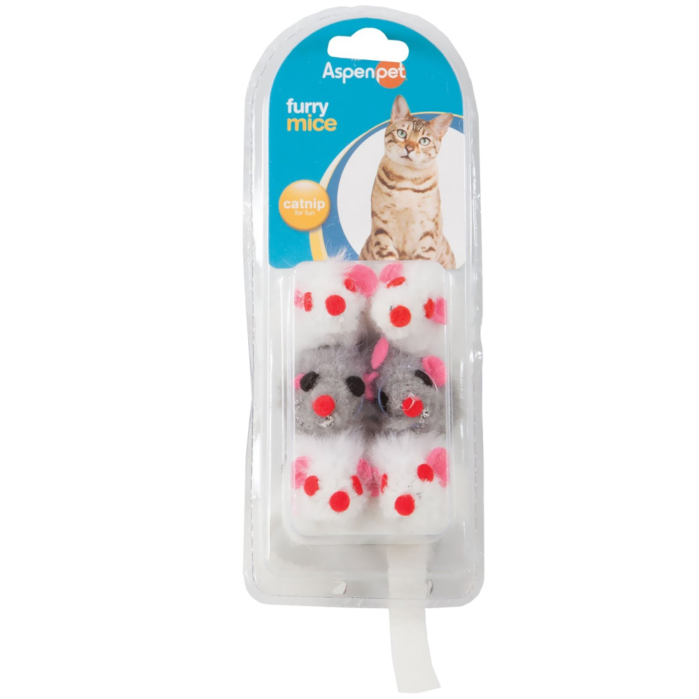 Petmate Soft Bite Fur Catnip Mice - Small (6 pack)