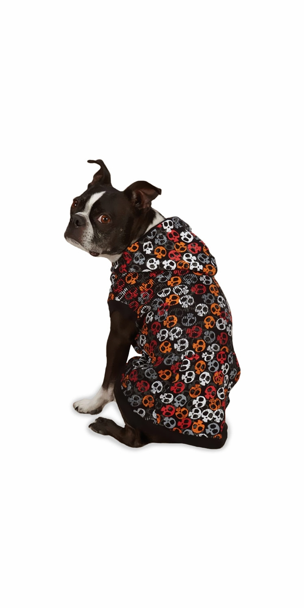 Casual Canine Bone Heads Waffle Hoodie - SMALL/MEDIUM