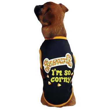 Casual Canine I'm So Corny Tee Black - LARGE