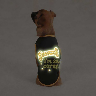 Casual Canine I'm So Corny Tee Black - MEDIUM