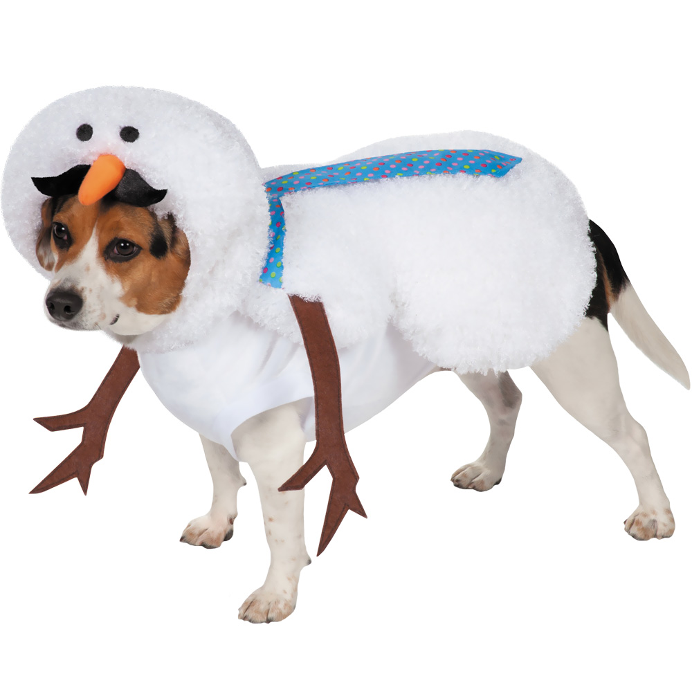 Casual Canine Mustache Snowman Dog Costume - Medium