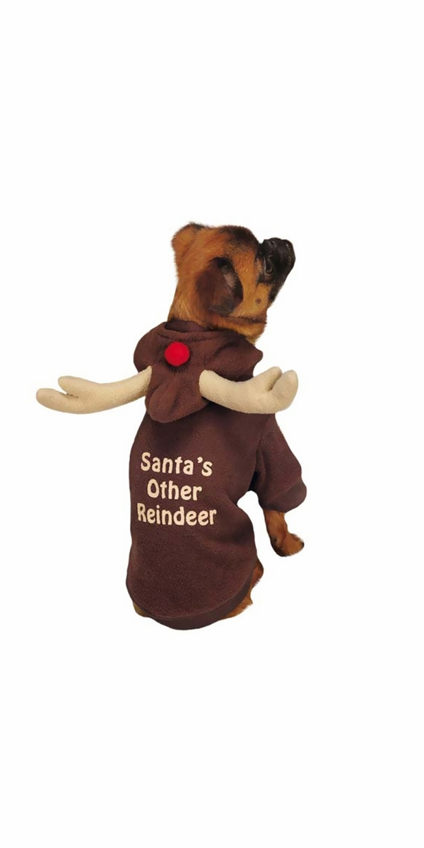 Casual Canine Reindeer Hoodie Brown - LARGE