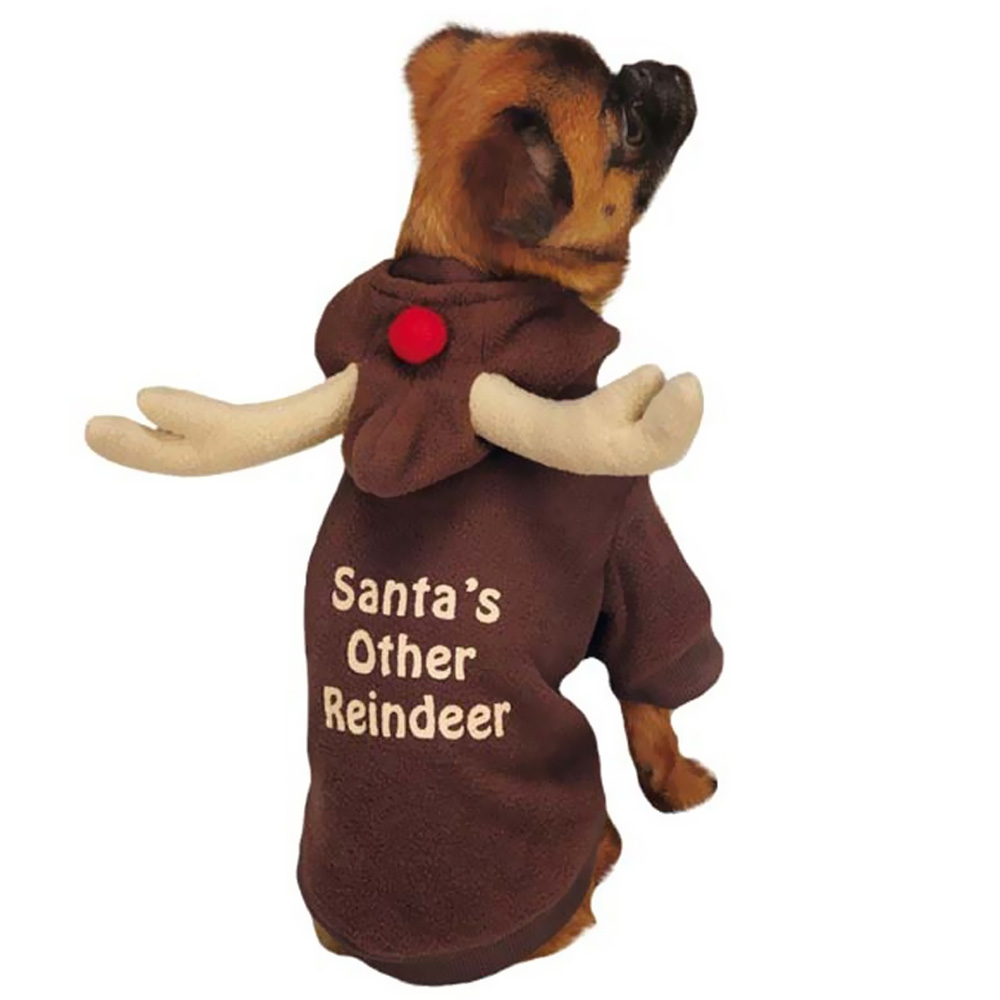 Casual Canine Reindeer Hoodie Brown - MEDIUM