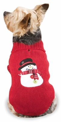 "Casual Canine Snowman Sweaters Red - L (20"")"