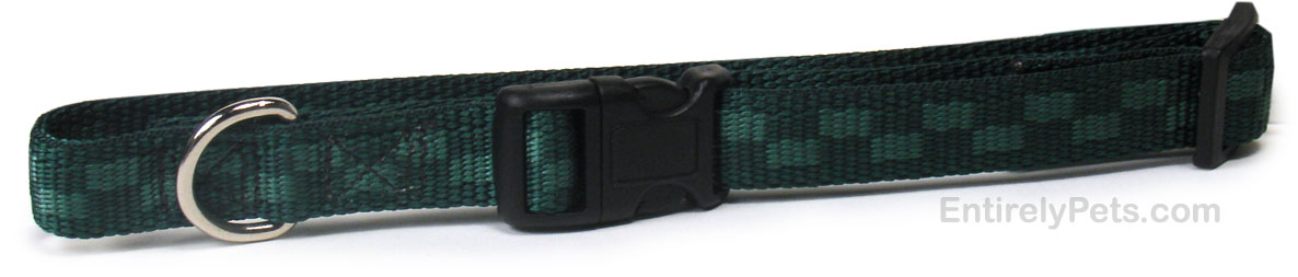 Checkered Nylon Adjustable Collars - Green