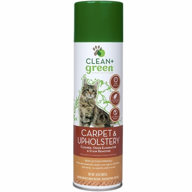Clean & Green Carpet  & Upholstery Odor Eliminator, Cleaner & Stain Remover for Cats (16 oz)