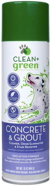 Clean & Green Concrete & Grout Odor Eliminator, Cleaner and Stain Remover for Dogs (16 oz)
