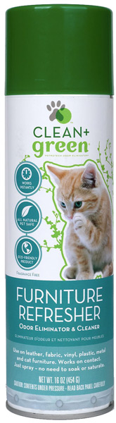 Clean & Green Furniture Refresher, Odor Eliminator, Cleaner and Stain Remover for Cats (16 oz)