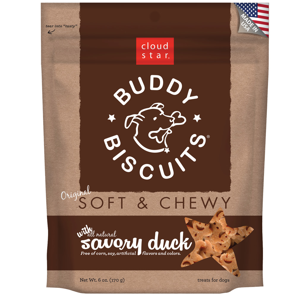 Cloud Star Buddy Biscuits Soft & Chewy Dog Treats - Duck Flavor (6 oz)