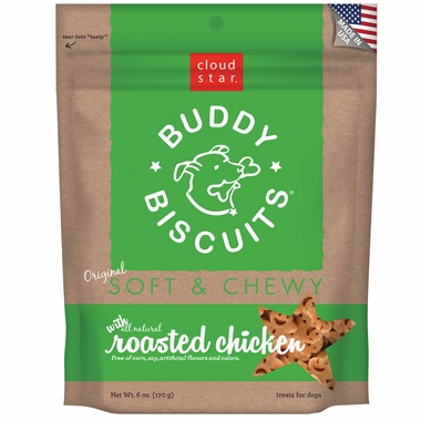 Cloud Star Buddy Biscuits Soft & Chewy Dog Treats - Roasted Chicken Flavor (6 oz)