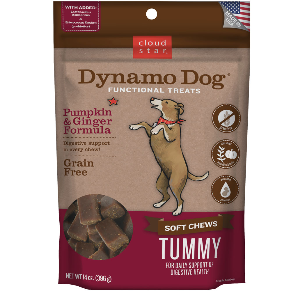 Cloud Star Dynamo Dog Functional Treats - Tummy - Pumpkin & Ginger (14 oz)