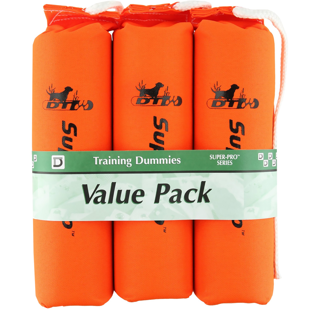 "D.T. Systems Sporting Dog Throwing Dummy 3 Pack Large - Orange (10"" x 3"" x 3"")"