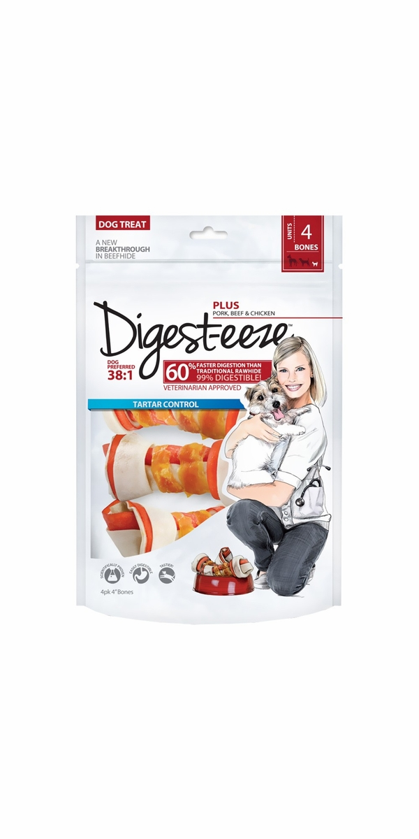 "Digest-eeze Rawhide Bones - Beef & Chicken 4"" (4 pack)"
