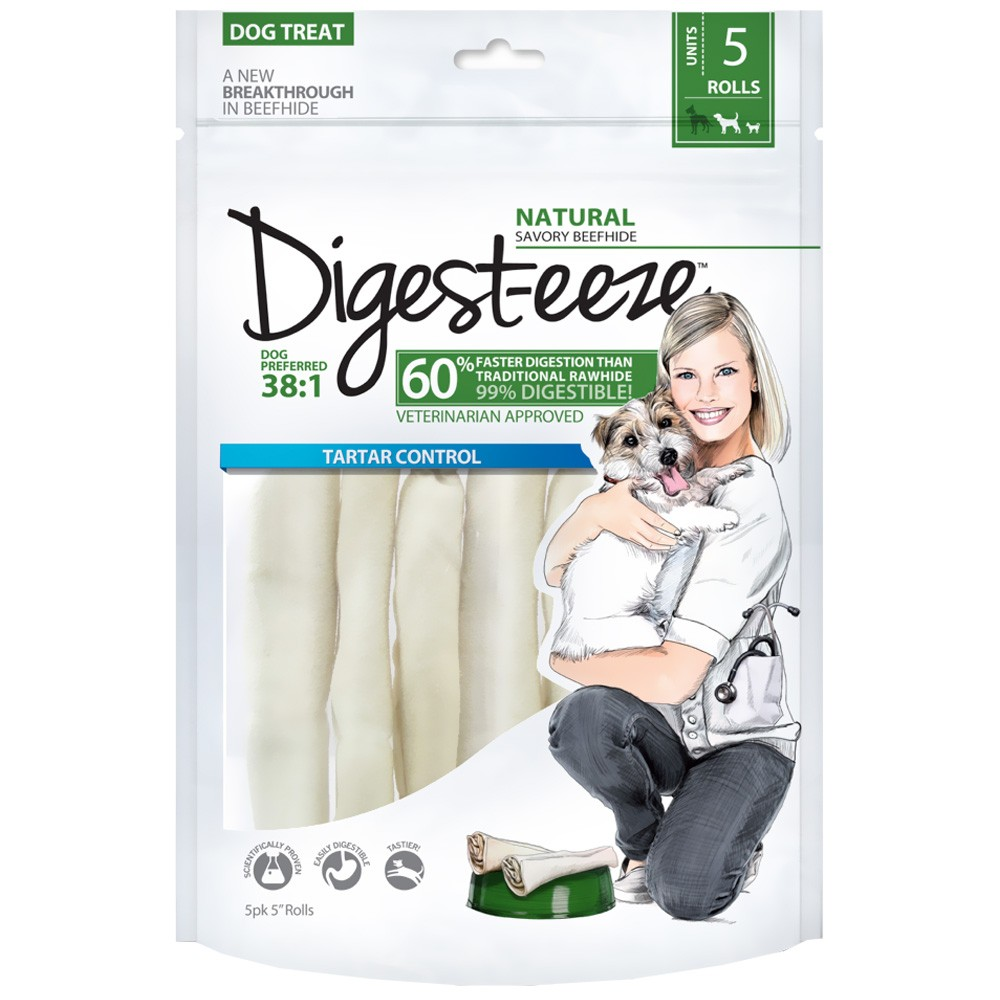 "Digest-eeze Thin Rawhide Rolls 5"" (5 pack)"