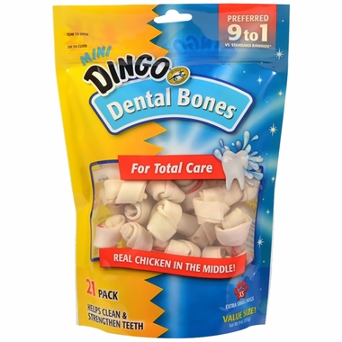 Dingo Dental Bone Chicken in the Middle Rawhide Chew - Mini Bones (21 pack)