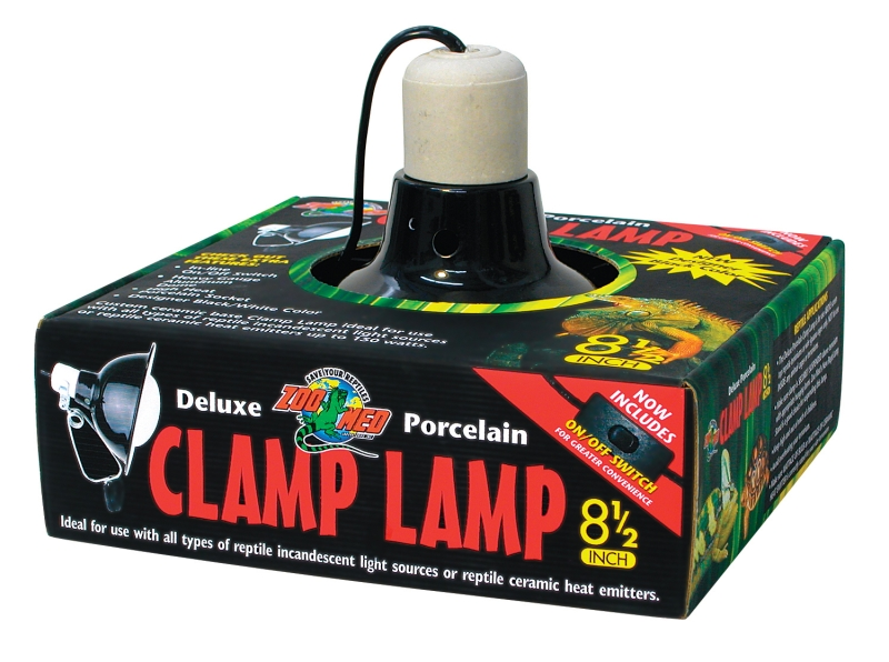 Dlx Porcelain Clamp Lamp (Blk - UL Listed) 8.5""