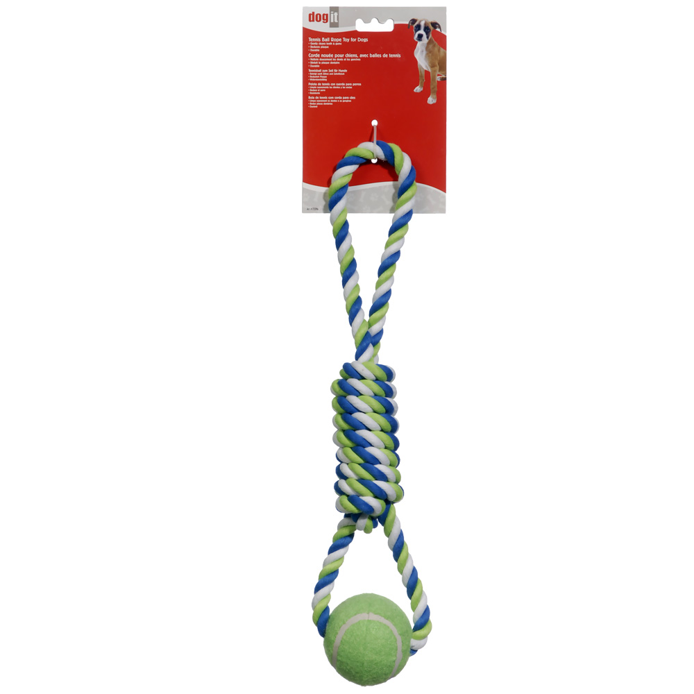 """Dogit Striped Rope Toy with Tennis Ball (18"""")"""