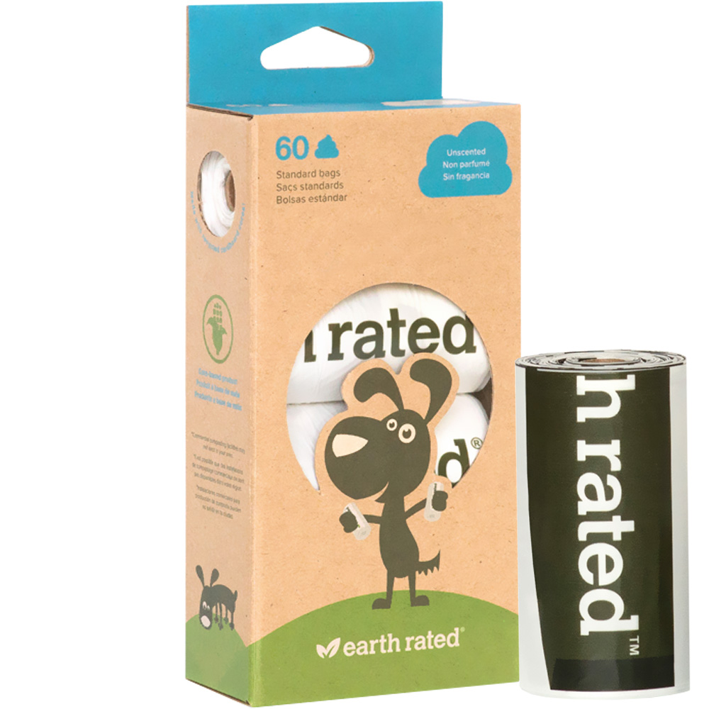 Earth Rated Unscented Vegetable-Based Poop Bags - 4 Rolls (60 count)
