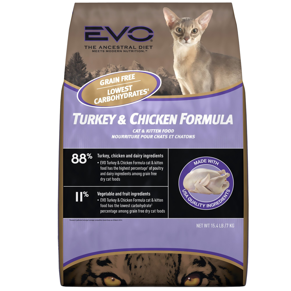 EVO Turkey & Chicken Formula Dry Cat Food (15.4 lb)