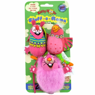 Fat Cat Fluff-O-Rama Cat Toy (3 pack) - Assorted