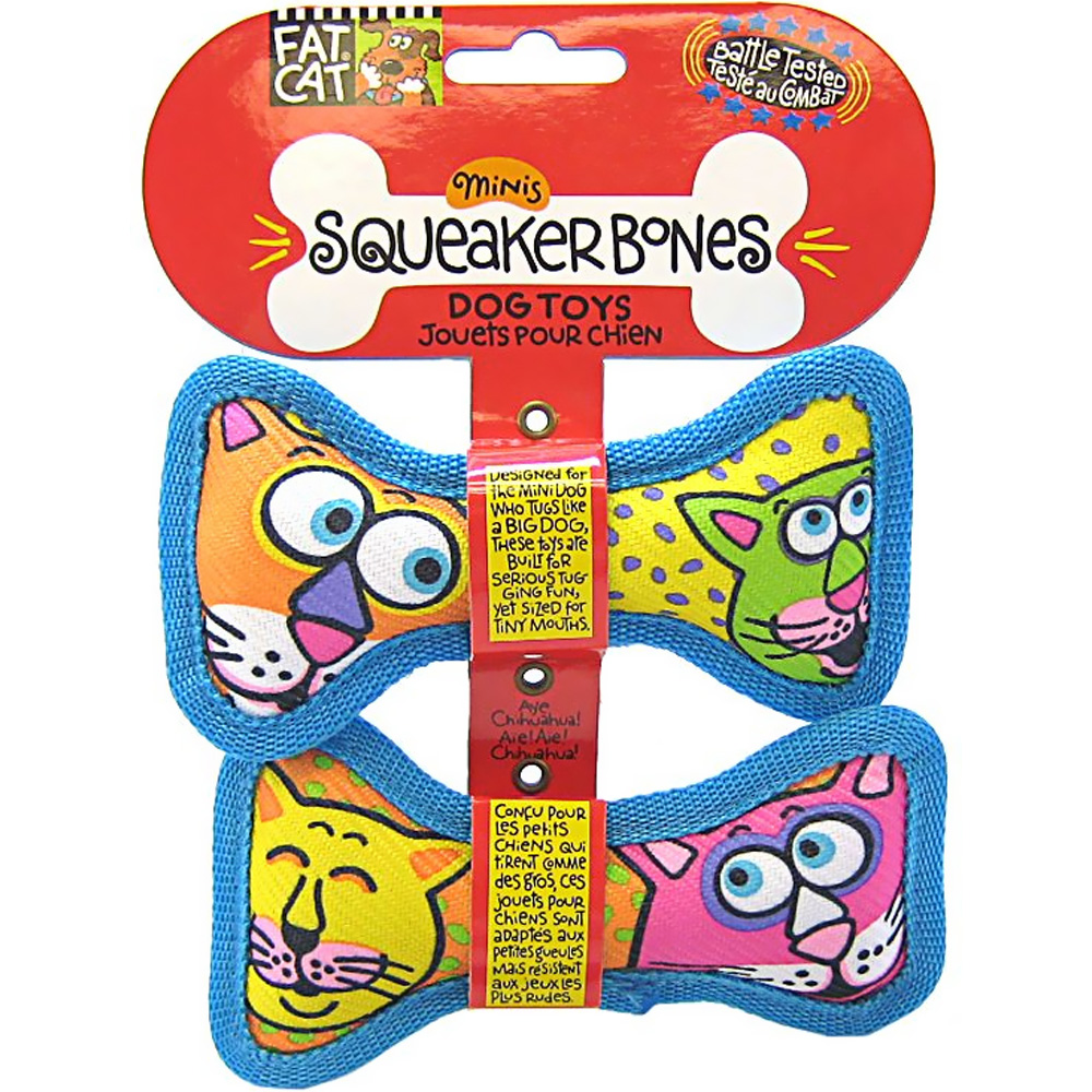 Fat Cat Mini Squeaker Bones (2 pack)