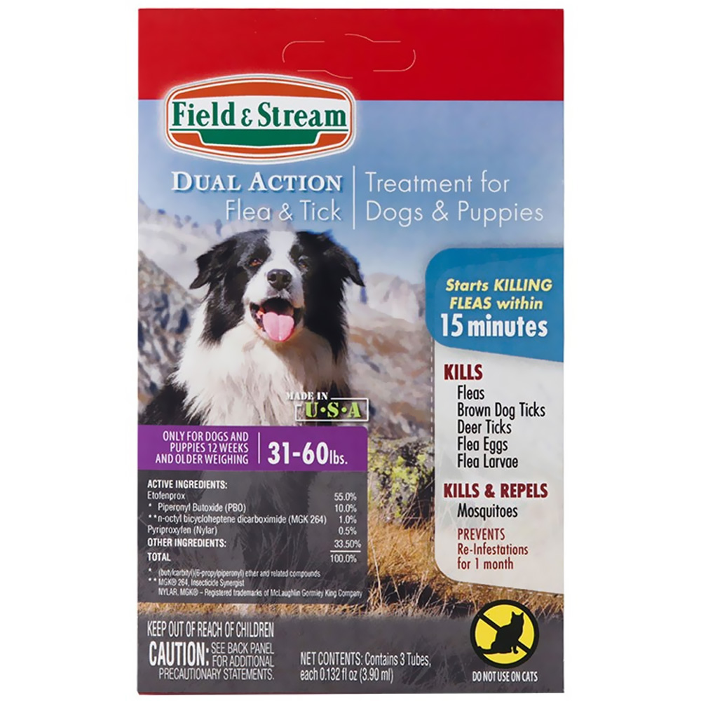 Field & Stream Dual Action Flea & Tick Drops for Dogs & Puppies 31-60 lbs