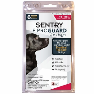 Fiproguard Flea & Tick Squeeze-On for Dogs 45-88 lbs, 6-PACK