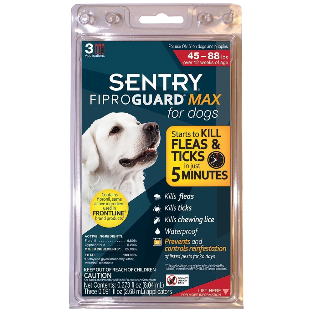 FiproGuard MAX Dog Flea & Tick Squeeze-On 45-88 lbs - 3-PACK