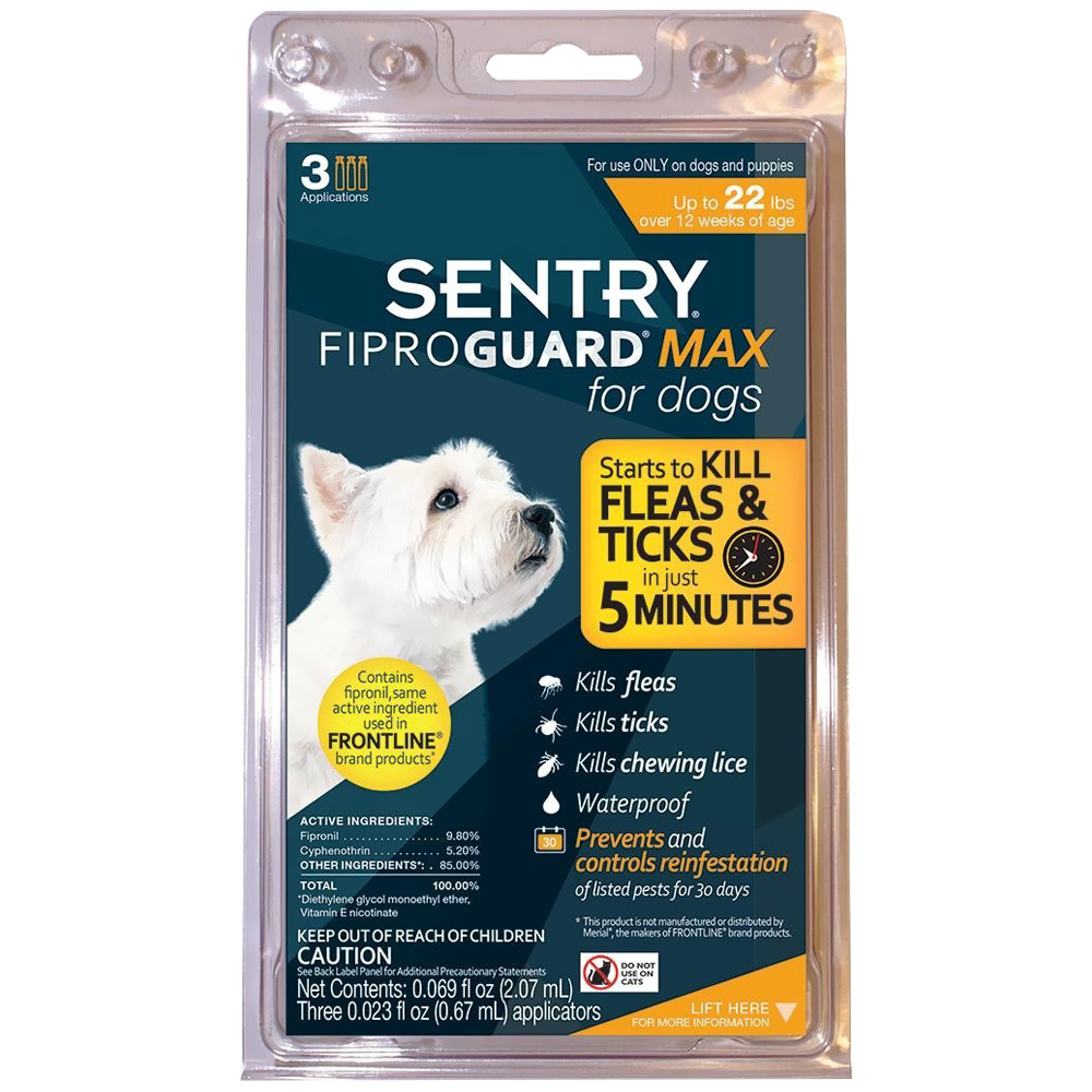 FiproGuard MAX Dog Flea & Tick Squeeze-On upto 22 lbs - 3-PACK