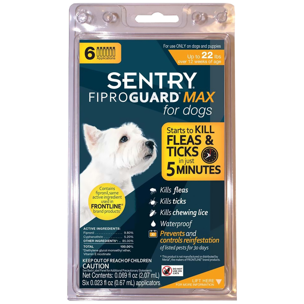 FiproGuard MAX Dog Flea & Tick Squeeze-On upto 22 lbs - 6-PACK