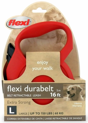 Flexi Durabelt Belt Retractable Leash - Large 150 lbs. - Red 16 ft.