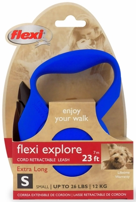 Flexi Explore Cord Retractable Leash - Small 26 lbs. - Blue 23 ft.