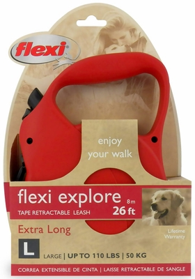 Flexi Explore Tape Retractable Leash - Large 110 lbs. - Red 26 ft.