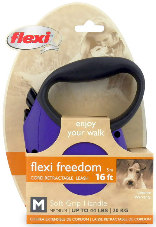 Flexi Freedom Cord Retractable Leash - Medium 44 lbs. - Purple/Black 16 ft.