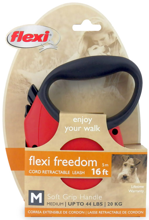 Flexi Freedom Cord Retractable Leash - Medium 44 lbs. - Red/Black 16 ft.