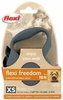 Flexi Freedom Cord Retractable Leash - XSmall 18 lbs. - Granite Grey 10 ft.