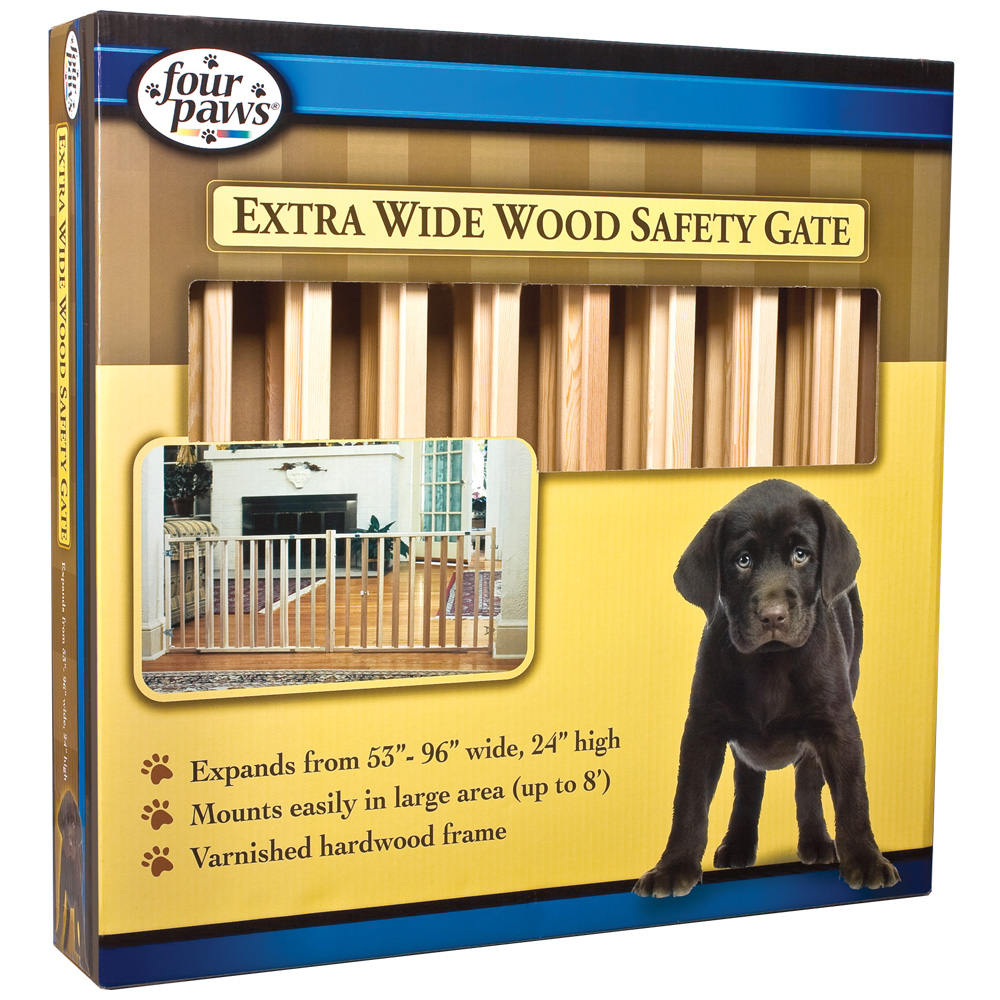 """Four Paws Extra Wide Wood Safety Gate (53-96"""" W x 24"""" H)"""
