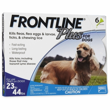 Frontline Plus for Dogs 23-44 lbs - BLUE, 6 MONTH
