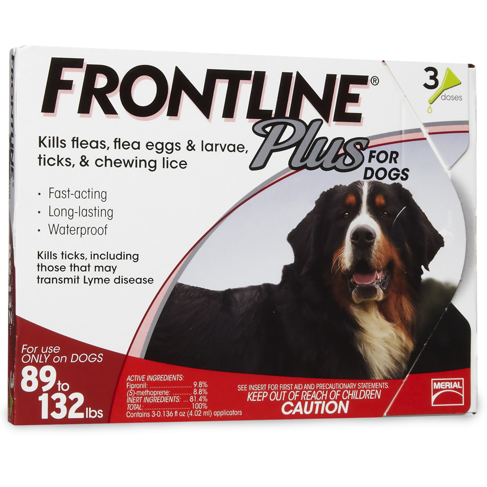 Frontline Plus for Dogs 89-132 lbs - RED, 3 MONTH