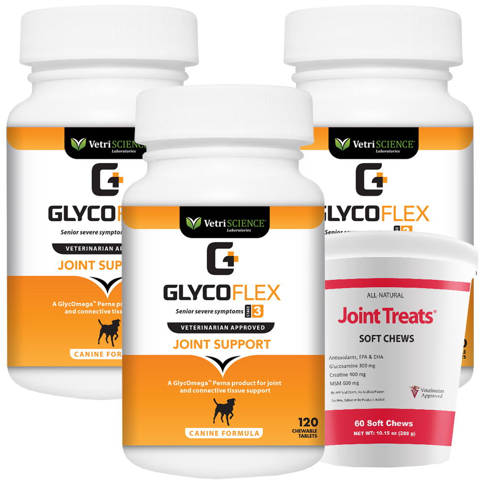 3-PACK GlycoFlex 3 (360 Tabs) + FREE Joint Treats!